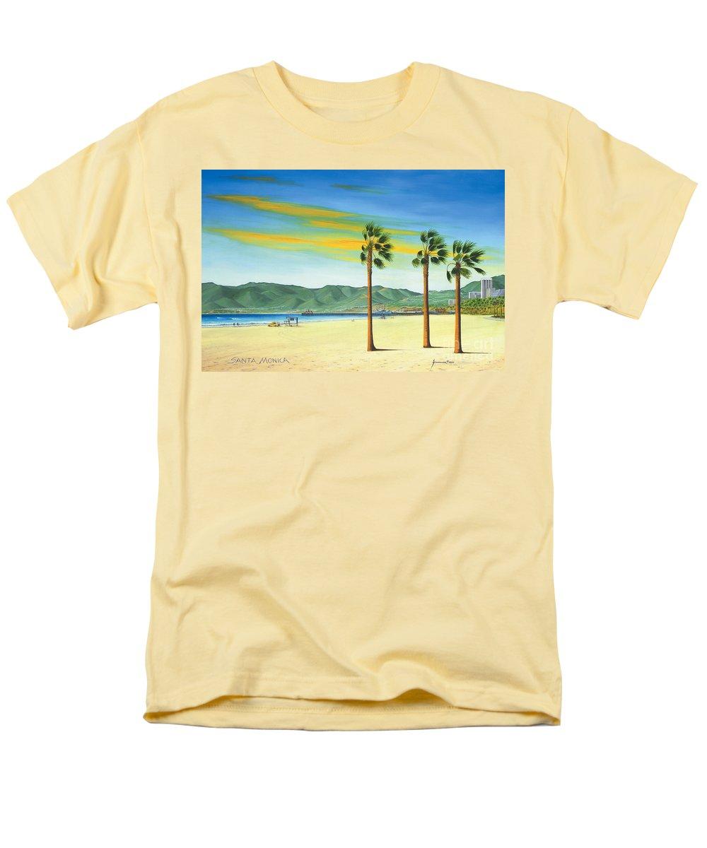 Santa Monica Men's T-Shirt (Regular Fit) featuring the painting Santa Monica by Jerome Stumphauzer