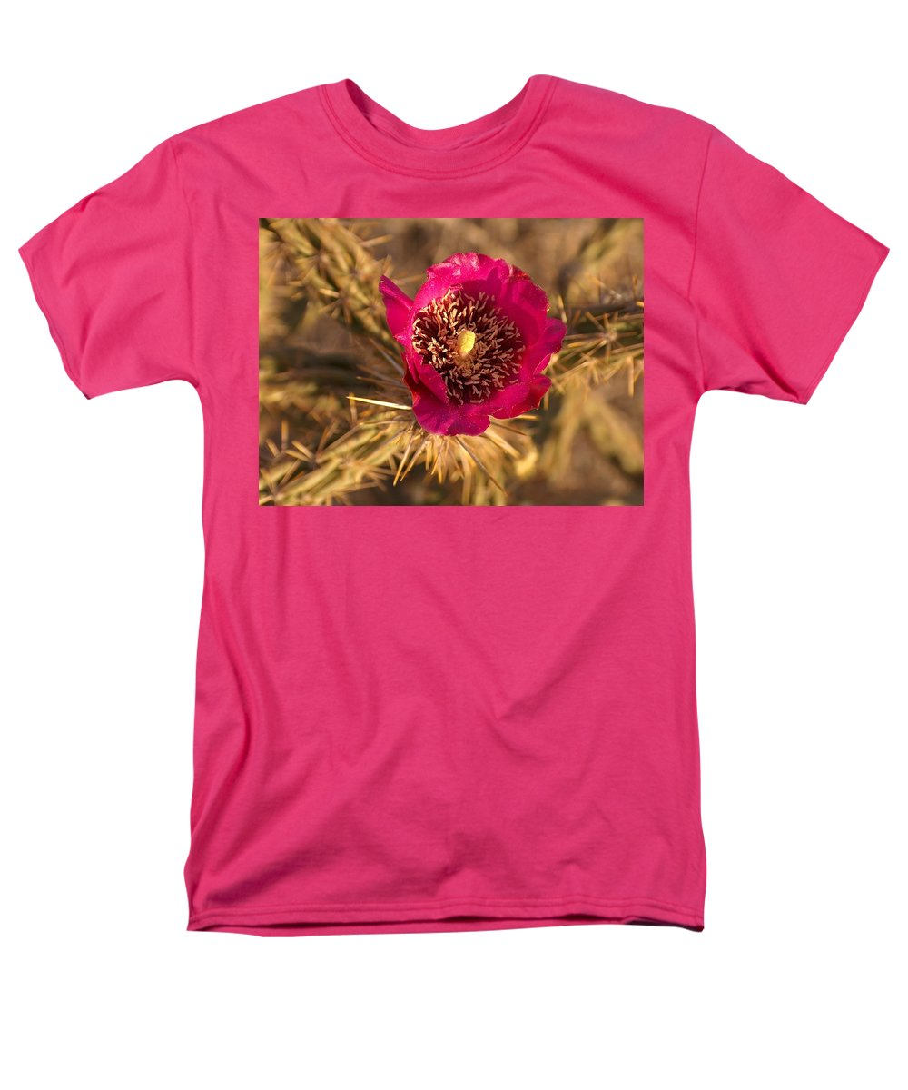 Cactus Flowers Wildflowers Men's T-Shirt (Regular Fit) featuring the photograph Cactus Flower 1 by Tim McCarthy