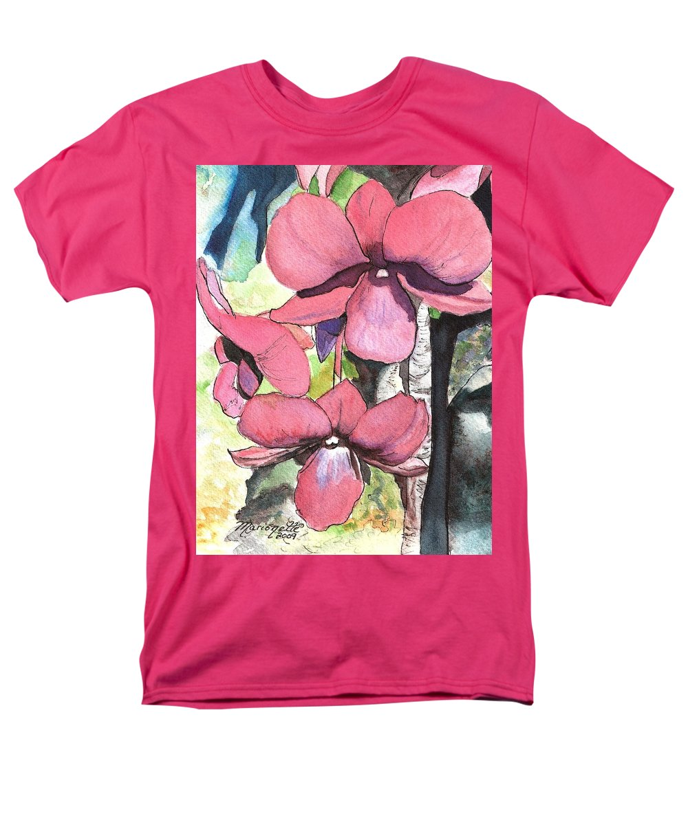 Orchid Men's T-Shirt (Regular Fit) featuring the painting Kiahuna Orchids by Marionette Taboniar
