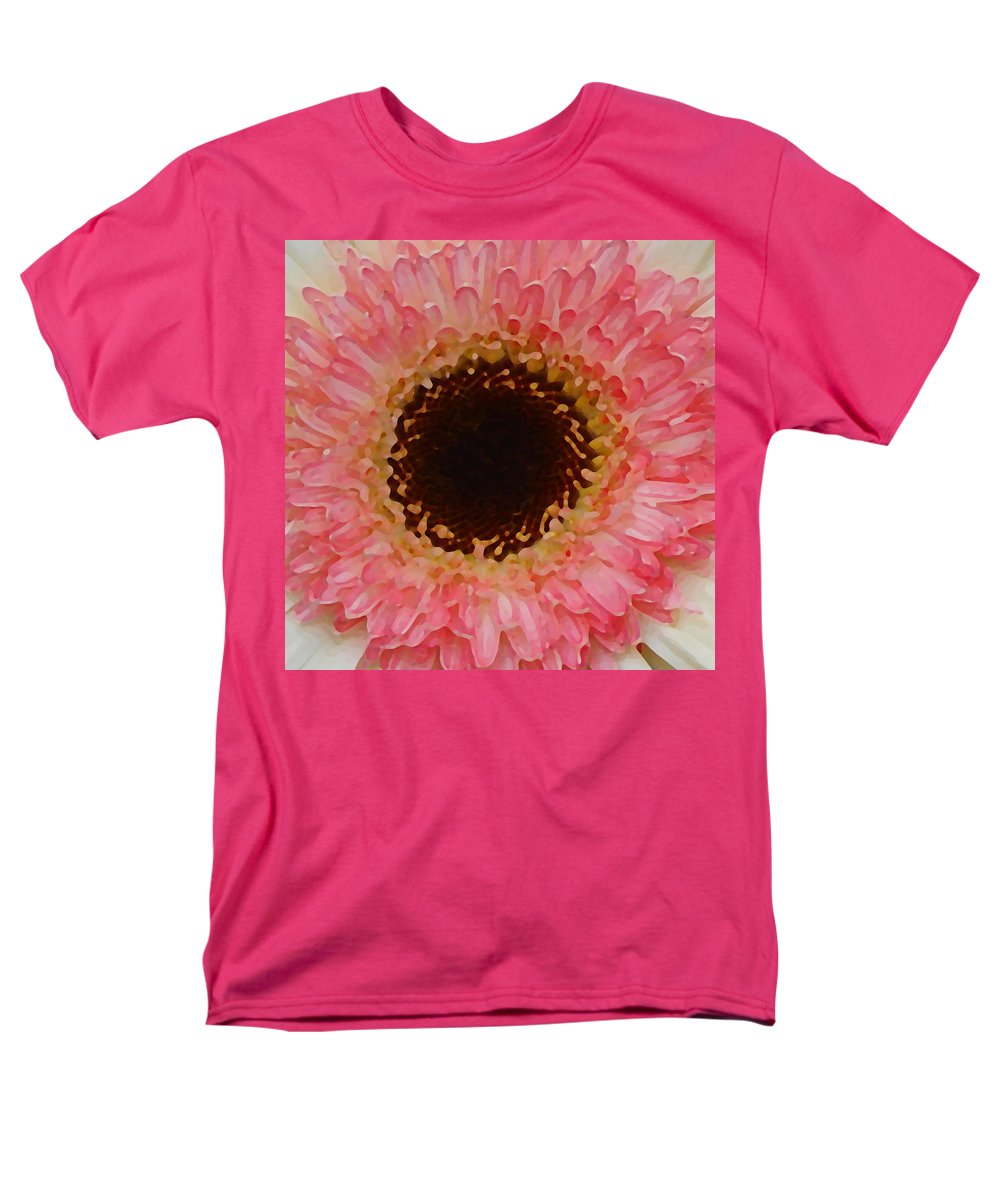 Daisy Men's T-Shirt (Regular Fit) featuring the painting Pink and Brown Gerber Center by Amy Vangsgard