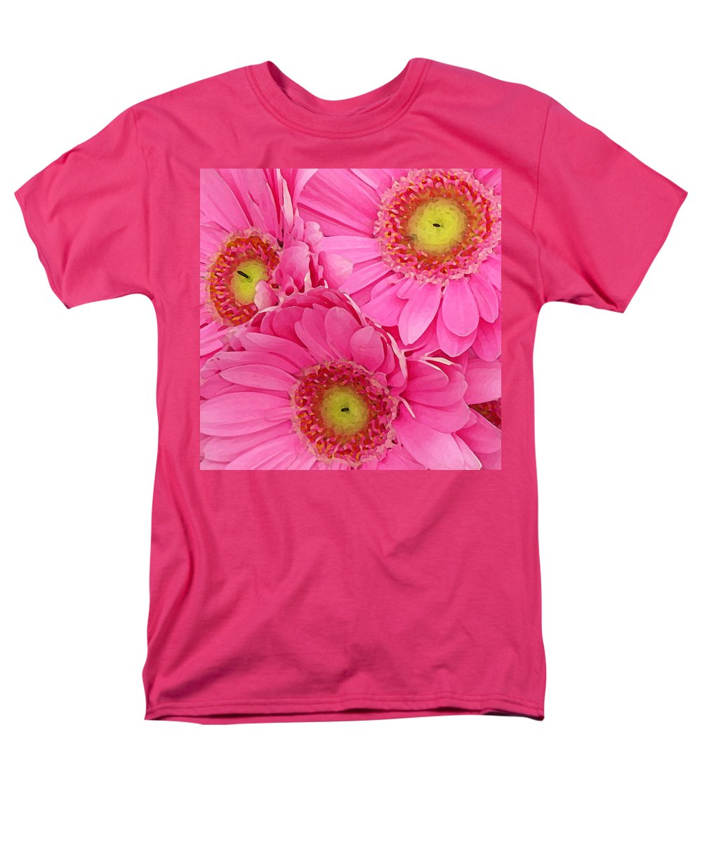 Pink Men's T-Shirt (Regular Fit) featuring the painting Pink Gerber Daisies by Amy Vangsgard