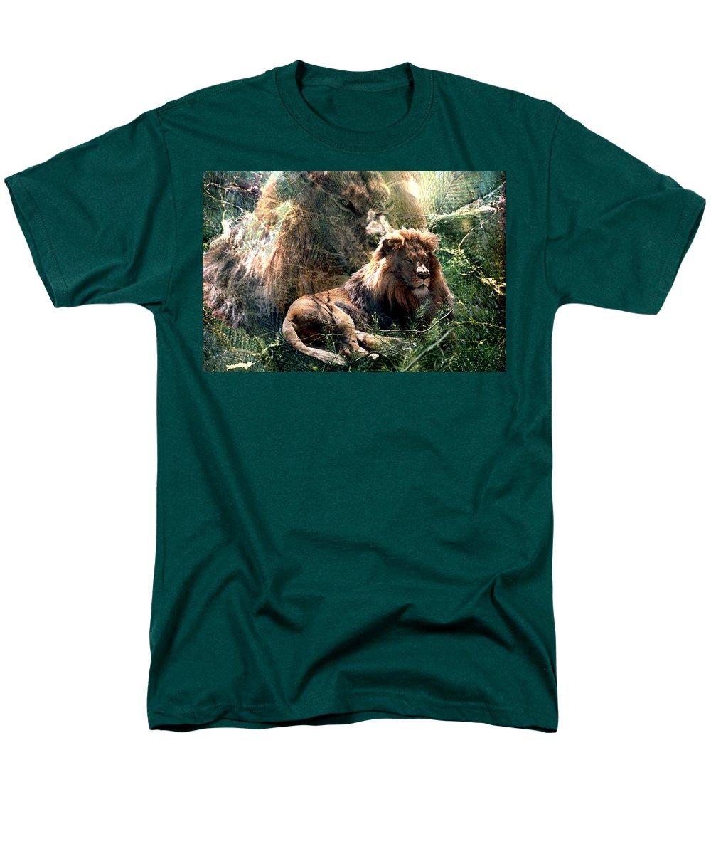 Lion Men's T-Shirt (Regular Fit) featuring the digital art Lion Spirit by Lisa Yount