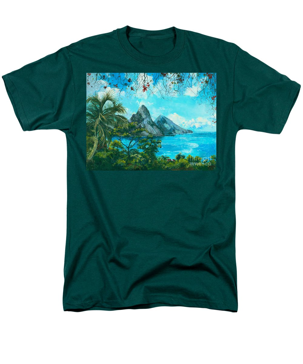 Mountains Men's T-Shirt (Regular Fit) featuring the painting St. Lucia - W. Indies by Elisabeta Hermann