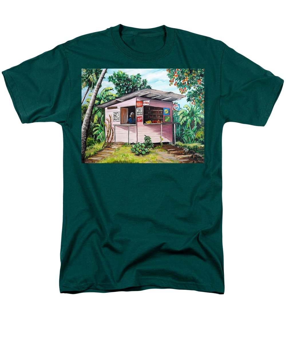 Shop Painting Men's T-Shirt (Regular Fit) featuring the painting Trini Roti Shop by Karin Dawn Kelshall- Best