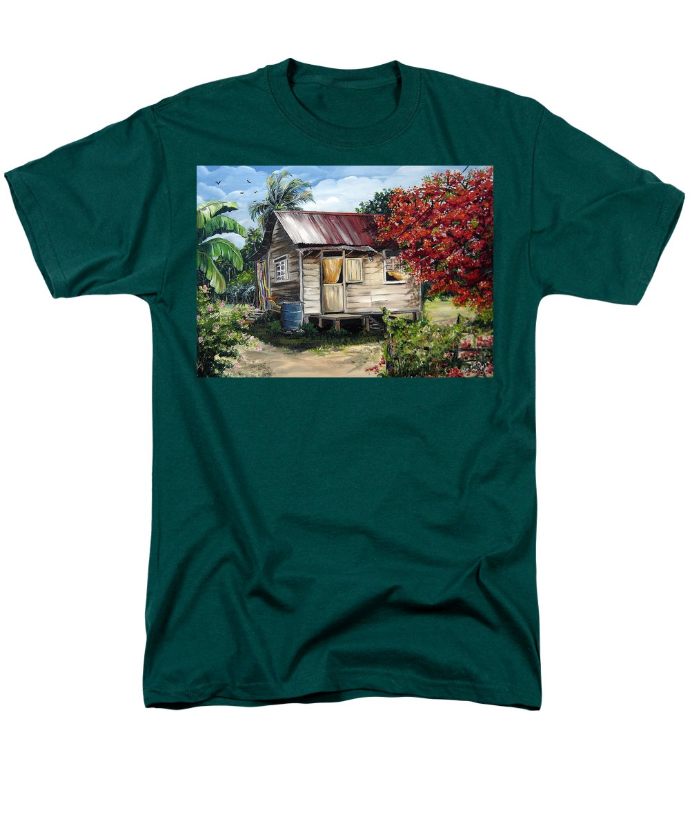 Landscape Paintings Tropical Paintings Trinidad House Paintings House Paintings Country Painting Trinidad Old Wood House Paintings Flamboyant Tree Paintings Caribbean Paintings Greeting Card Paintings Canvas Print Paintings Poster Art Paintings Men's T-Shirt (Regular Fit) featuring the painting Country Life by Karin Dawn Kelshall- Best