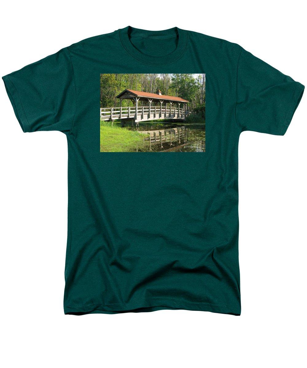 Bridge Men's T-Shirt (Regular Fit) featuring the photograph Wetland Footbridge by Ann Horn