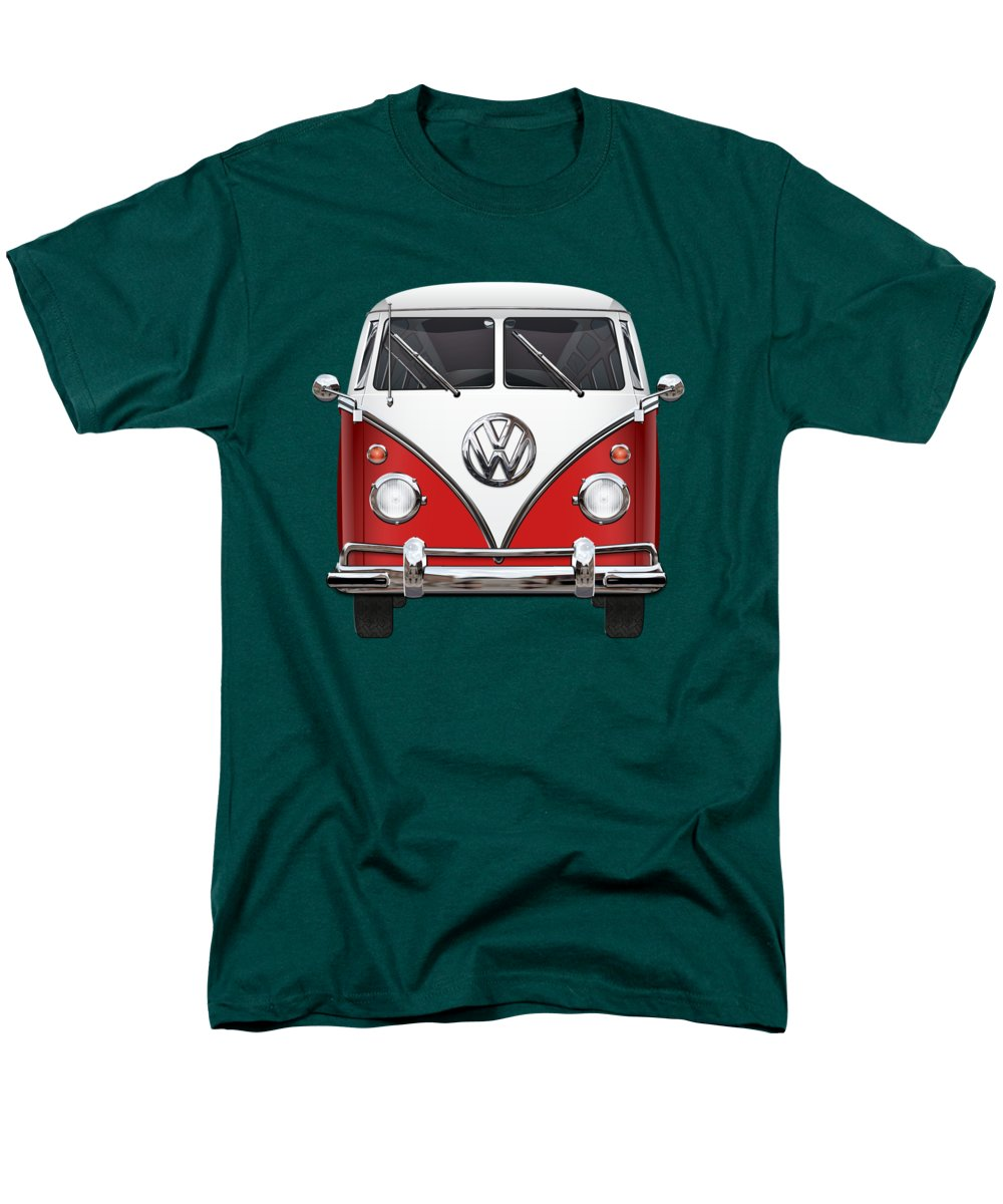 'volkswagen Type 2' Collection By Serge Averbukh Men's T-Shirt (Regular Fit) featuring the photograph Volkswagen Type 2 - Red And White Volkswagen T 1 Samba Bus Over Green Canvas by Serge Averbukh