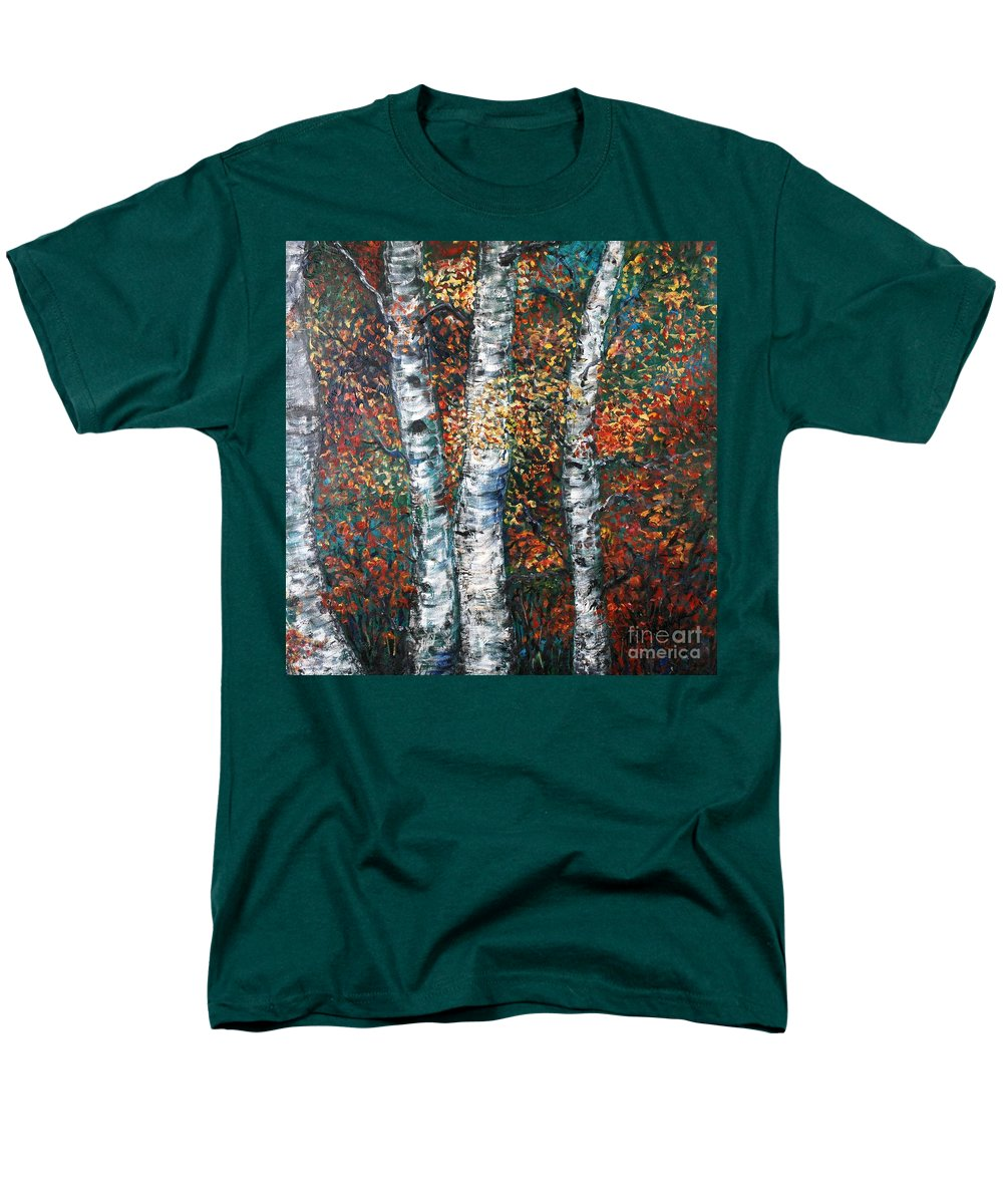 Birch Men's T-Shirt (Regular Fit) featuring the painting Autumn Birch by Nadine Rippelmeyer