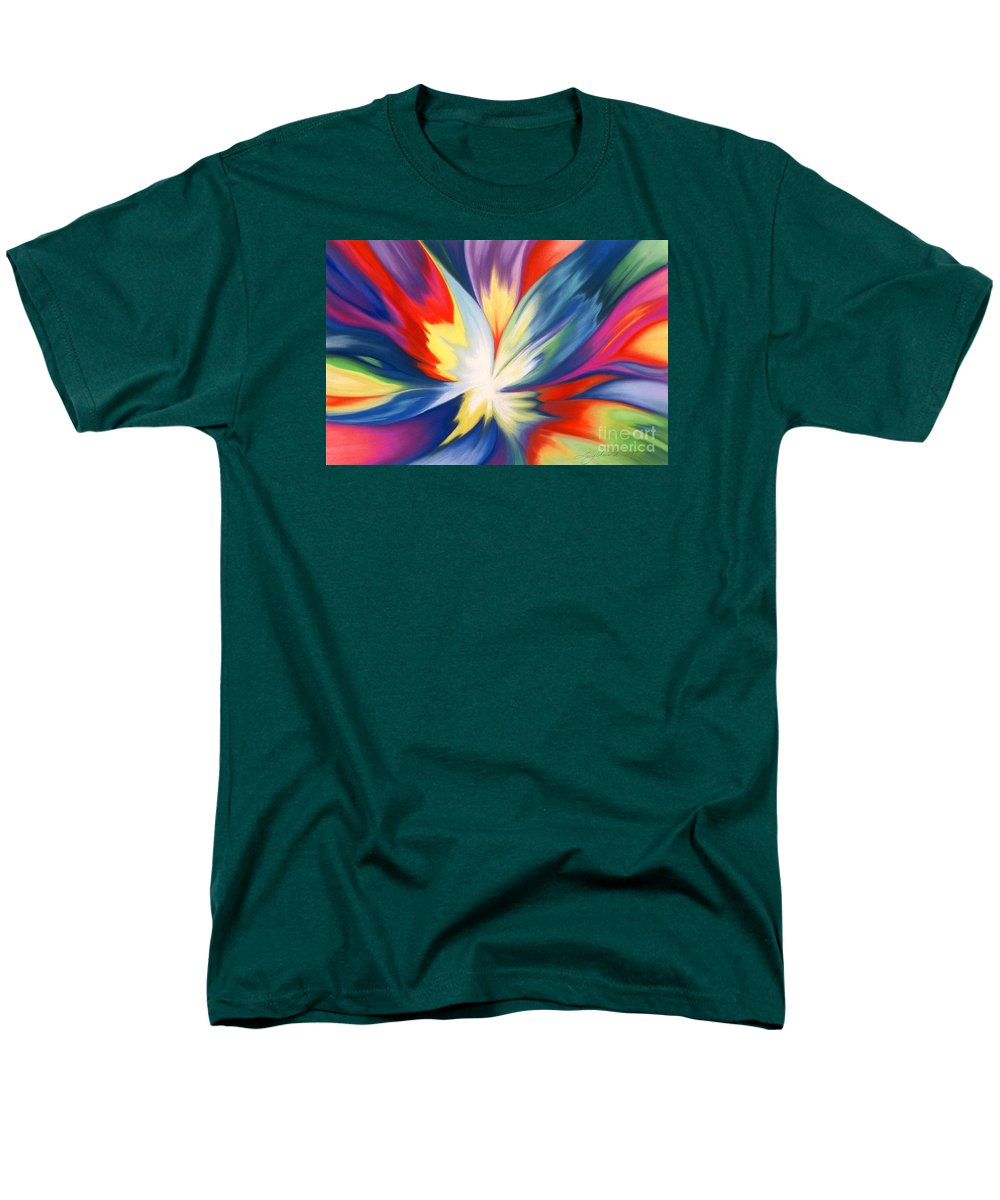Abstract Men's T-Shirt (Regular Fit) featuring the painting Burst Of Joy by Lucy Arnold