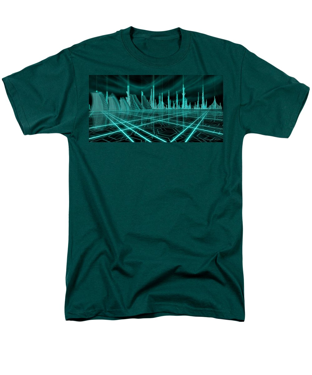 Science Fiction City Men's T-Shirt (Regular Fit) featuring the painting Cityscape 2010 Alpha by James Christopher Hill