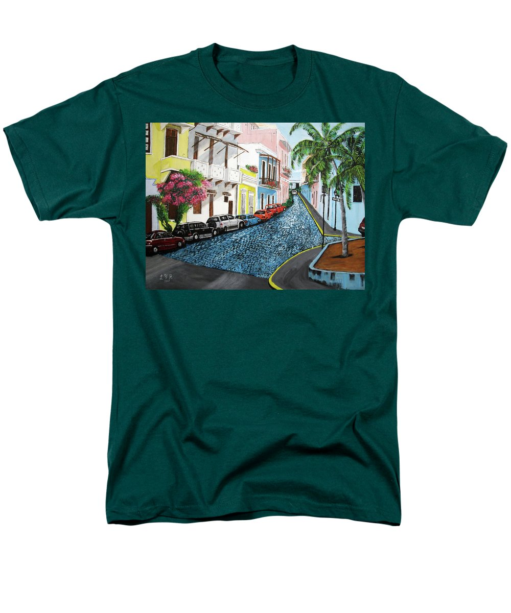 Old San Juan Men's T-Shirt (Regular Fit) featuring the painting Colorful Old San Juan by Luis F Rodriguez