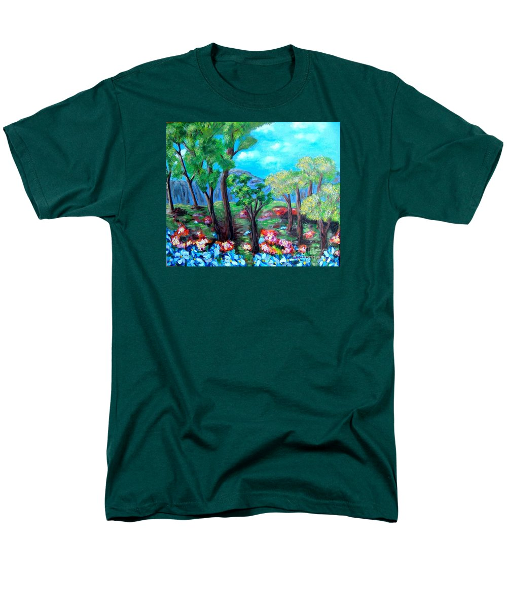 Fantasy Men's T-Shirt (Regular Fit) featuring the painting Fantasy Forest by Laurie Morgan