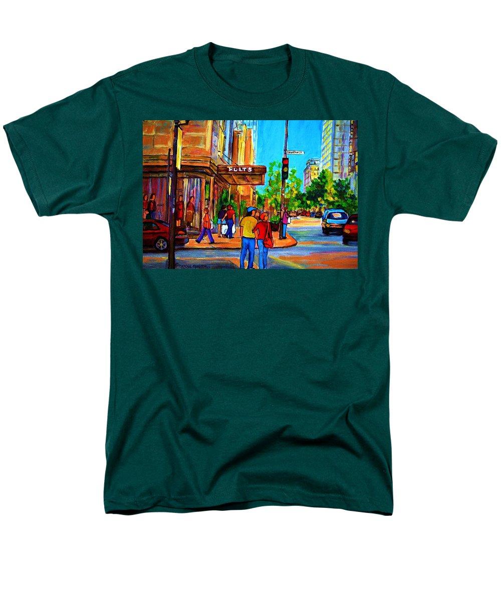 Holt Renfrew Men's T-Shirt (Regular Fit) featuring the painting Fashionable Holt Renfrew by Carole Spandau
