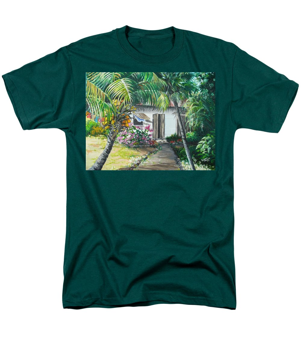 Caribbean Painting Typical Country House In Trinidad And The Islands With Coconut Tree Tropical Painting Men's T-Shirt (Regular Fit) featuring the painting Little West Indian House 2...sold by Karin Dawn Kelshall- Best