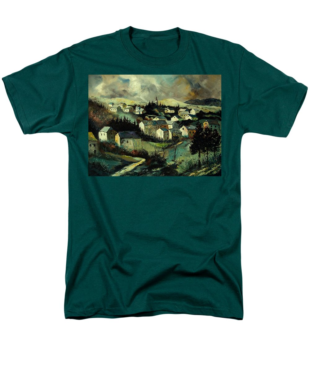 Winter Men's T-Shirt (Regular Fit) featuring the painting Masbourg by Pol Ledent