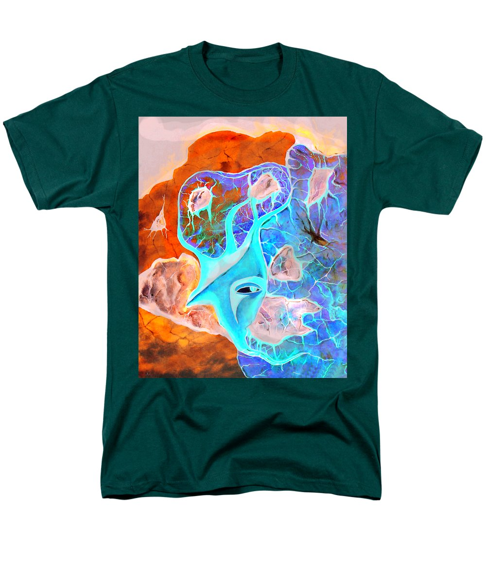 Surrealism Color Sky Haven Stones Men's T-Shirt (Regular Fit) featuring the painting More seconds in my head by Veronica Jackson