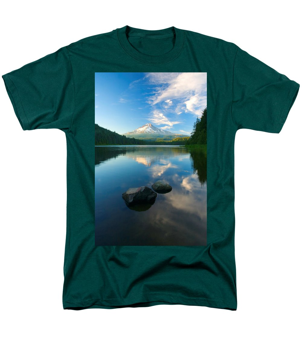 Mt. Hood Men's T-Shirt (Regular Fit) featuring the photograph Mt. Hood Cirrus Explosion by Mike Dawson