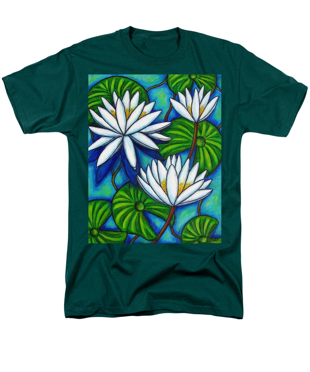 Lily Men's T-Shirt (Regular Fit) featuring the painting Nymphaea Blue by Lisa Lorenz