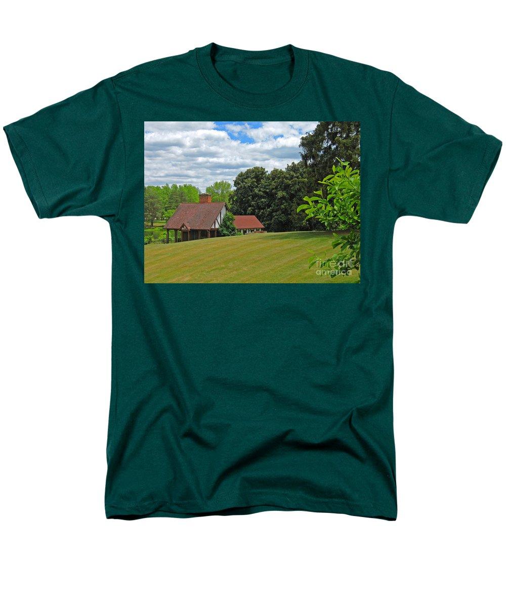 Landscape Men's T-Shirt (Regular Fit) featuring the photograph Parkland Cottage by Ann Horn