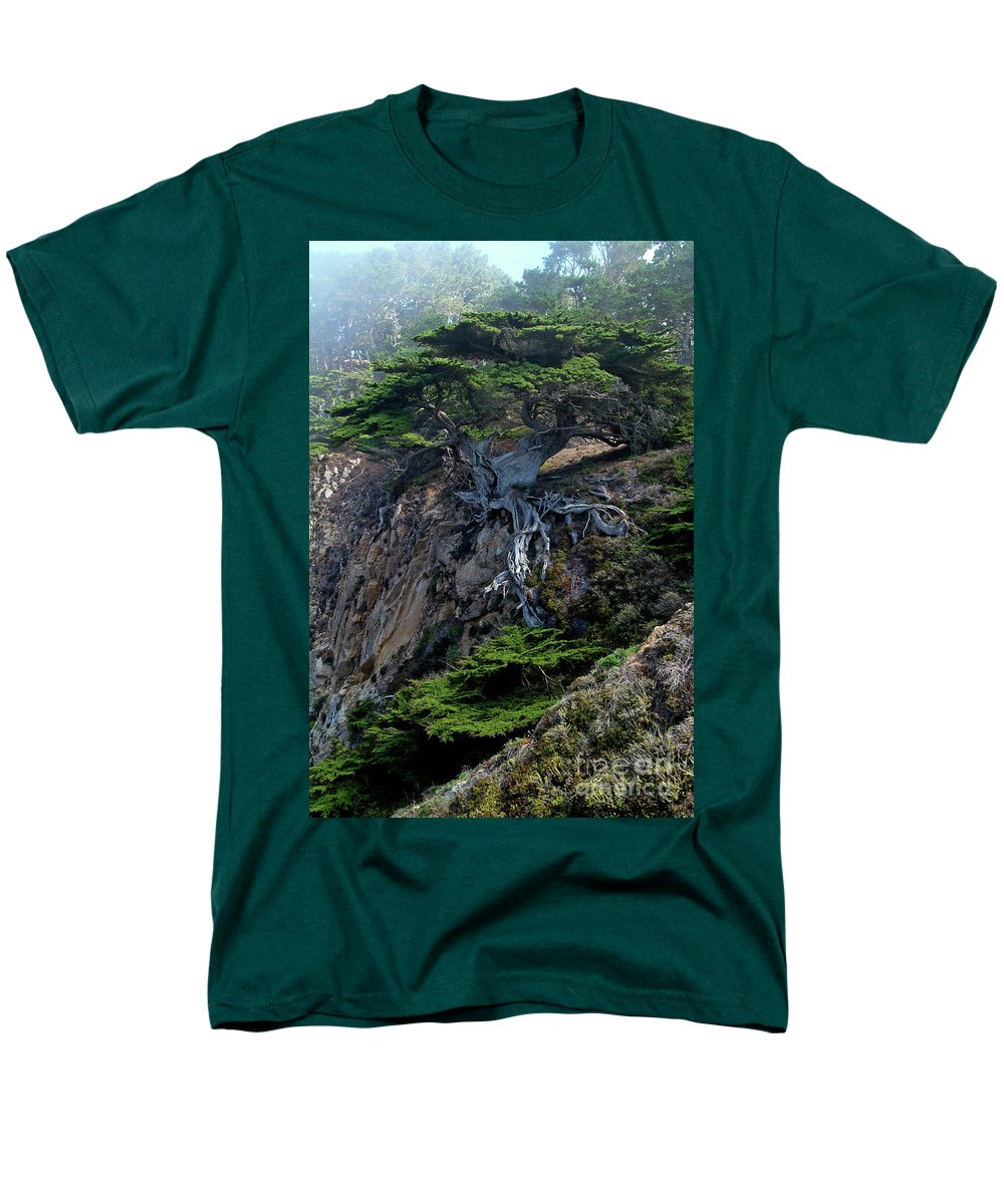 Landscape Men's T-Shirt (Regular Fit) featuring the photograph Point Lobos Veteran Cypress Tree by Charlene Mitchell