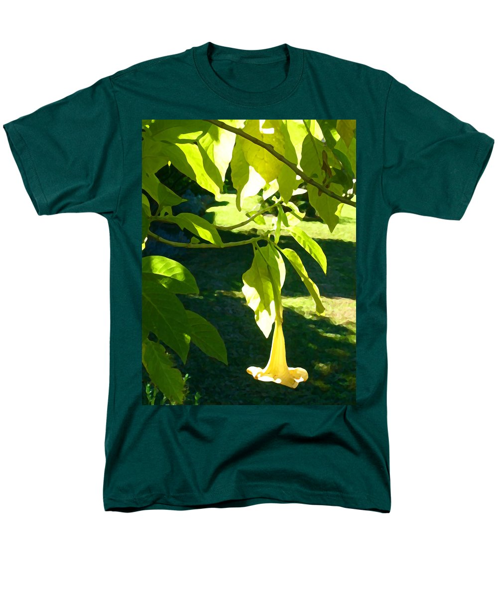 Spring Men's T-Shirt (Regular Fit) featuring the painting Single Angel's Trumpet by Amy Vangsgard