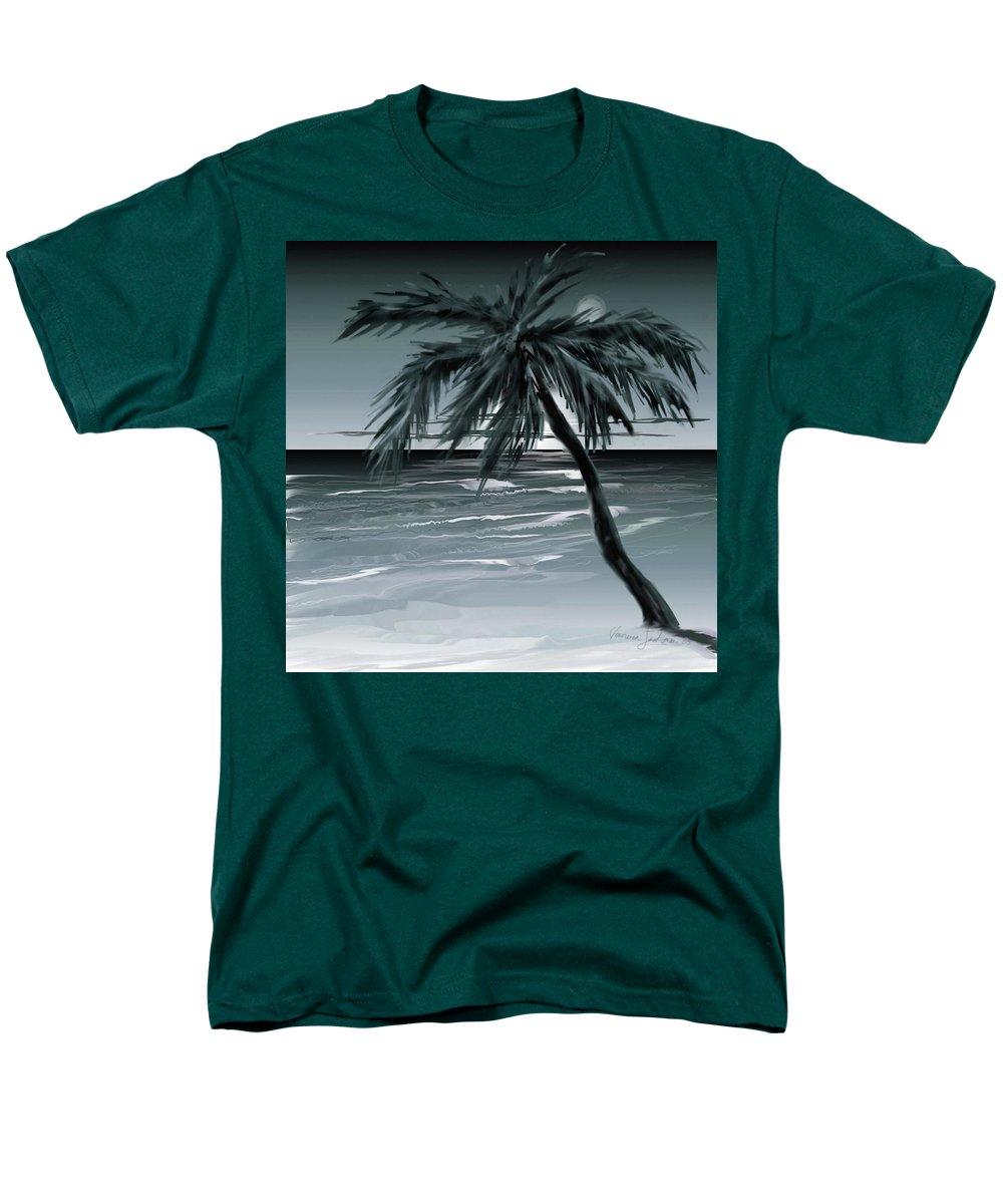 Water Beach Sea Ocean Palm Tree Summer Breeze Moonlight Sky Night Men's T-Shirt (Regular Fit) featuring the digital art Summer Night in Florida by Veronica Jackson