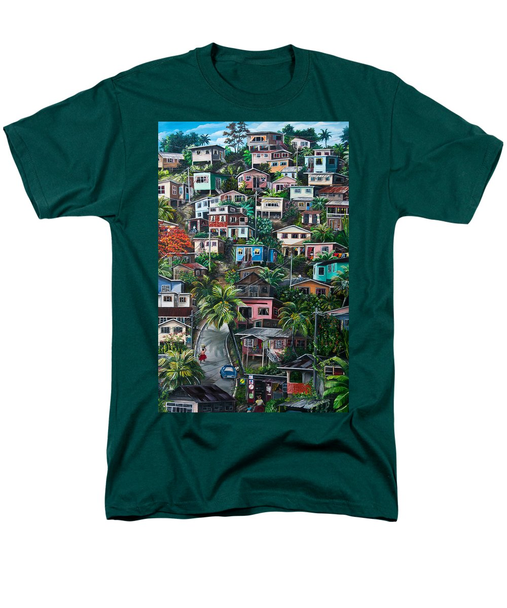 Landscape Painting Cityscape Painting Houses Painting Hill Painting Lavantille Port Of Spain Painting Trinidad And Tobago Painting Caribbean Painting Tropical Painting Caribbean Painting Original Painting Greeting Card Painting Men's T-Shirt (Regular Fit) featuring the painting The Hill   Trinidad by Karin Dawn Kelshall- Best