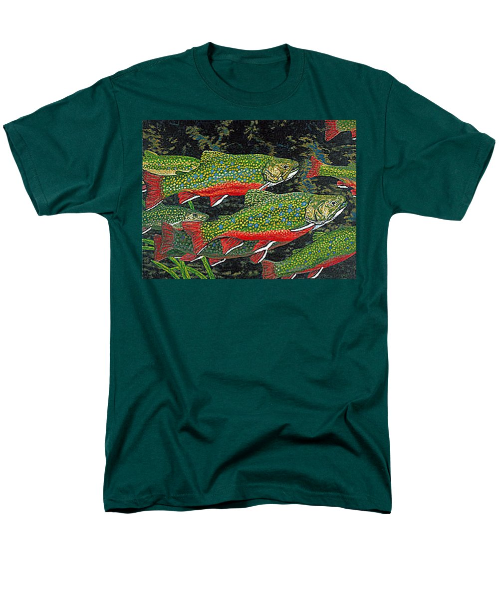 Art Men's T-Shirt (Regular Fit) featuring the painting Trout Art Brook Trout Fish Artwork Giclee Wildlife Underwater by Patti Baslee