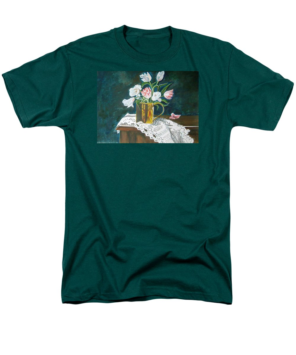 Tulips Men's T-Shirt (Regular Fit) featuring the painting Tulips by Manjiri Kanvinde