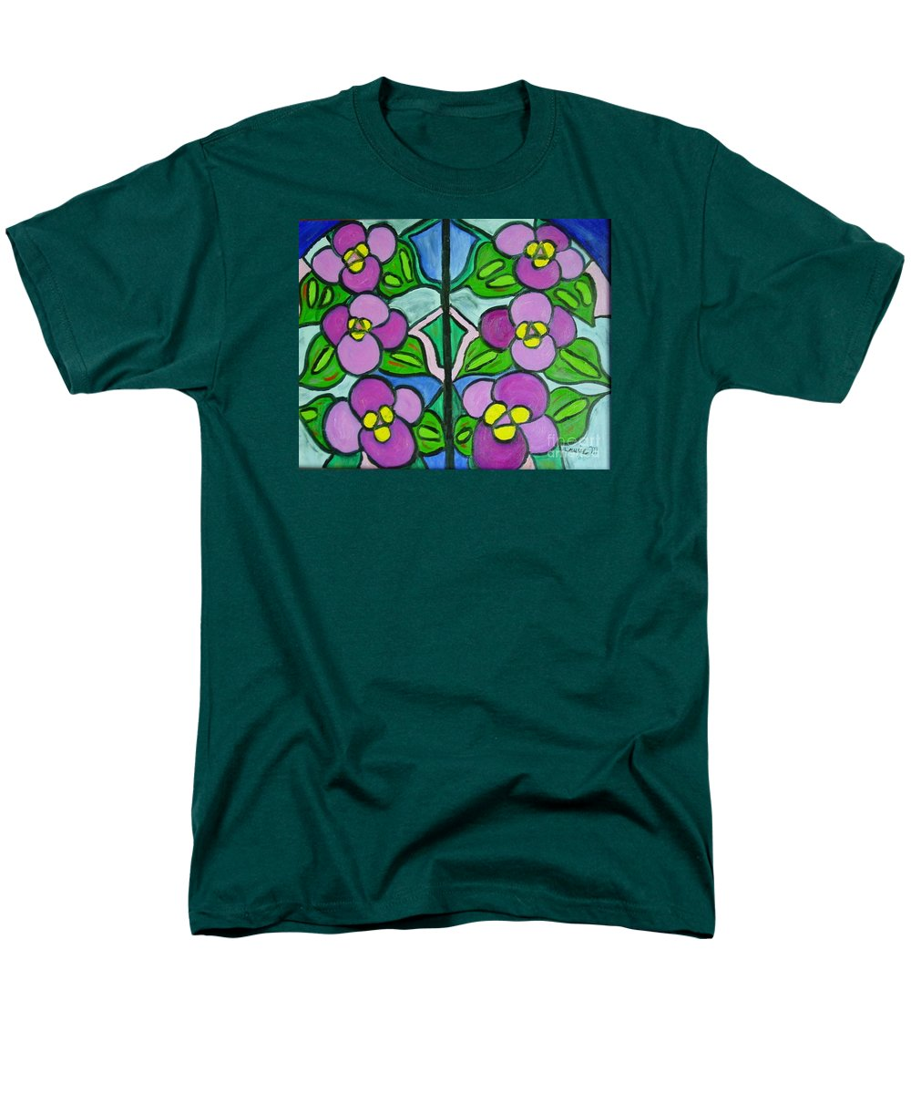 Violets Men's T-Shirt (Regular Fit) featuring the painting Vintage Violets by Laurie Morgan