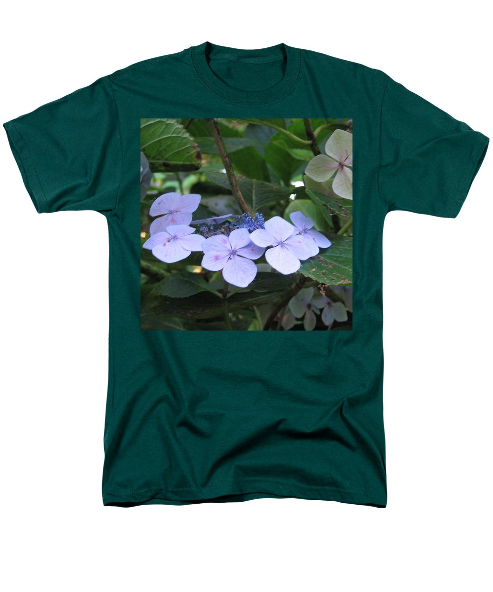 Violets Men's T-Shirt (Regular Fit) featuring the photograph Violets O The green by Kelly Mezzapelle