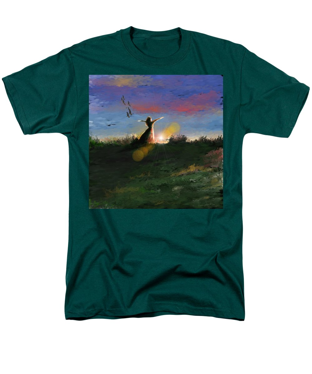 Morning Sunrise Star Woman Nature Sky Clouds Men's T-Shirt (Regular Fit) featuring the mixed media What's the story morning glory by Veronica Jackson