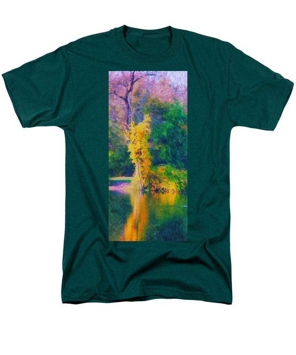 Digital Landscape Men's T-Shirt (Regular Fit) featuring the digital art Yellow Reflections by David Lane