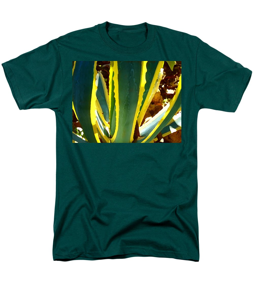 Succulent Men's T-Shirt (Regular Fit) featuring the painting Backlit Agave Americana 2 by Amy Vangsgard