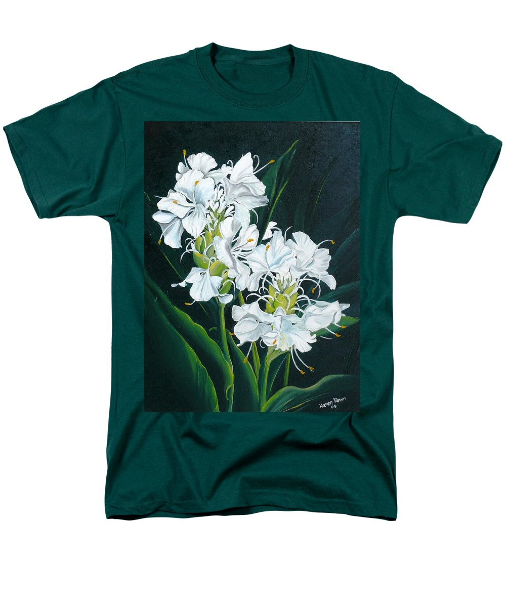 Caribbean Painting Butterfly Ginger Painting Floral Painting Botanical Painting Flower Painting Water Ginger Painting Or Water Ginger Tropical Lily Painting Original Oil Painting Trinidad And  Tobago Painting Tropical Painting Lily Painting White Flower Painting Men's T-Shirt (Regular Fit) featuring the painting Butterfly Ginger by Karin Dawn Kelshall- Best