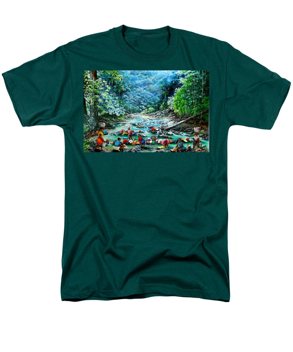 Land Scape Painting River Painting Mountain Painting Rain Forest Painting Washerwomen Painting Laundry Painting Caribbean Painting Tropical Painting Village Washer Women At A Mountain River In Trinidad And Tobago Men's T-Shirt (Regular Fit) featuring the painting Caribbean Wash Day by Karin Dawn Kelshall- Best