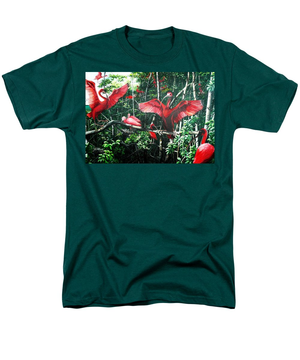 Caribbean Painting Scarlet Ibis Painting Bird Painting Coming Home To Roost Painting The Caroni Swamp In Trinidad And Tobago Greeting Card Painting Painting Tropical Painting Men's T-Shirt (Regular Fit) featuring the painting Scarlet Ibis by Karin Dawn Kelshall- Best