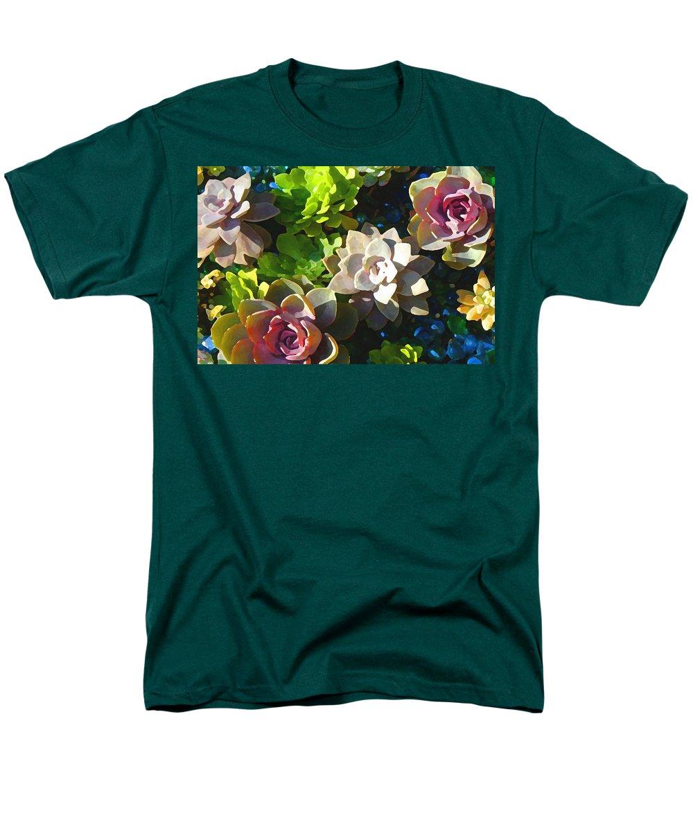 Succulent Men's T-Shirt (Regular Fit) featuring the painting Succulent Pond 2 by Amy Vangsgard