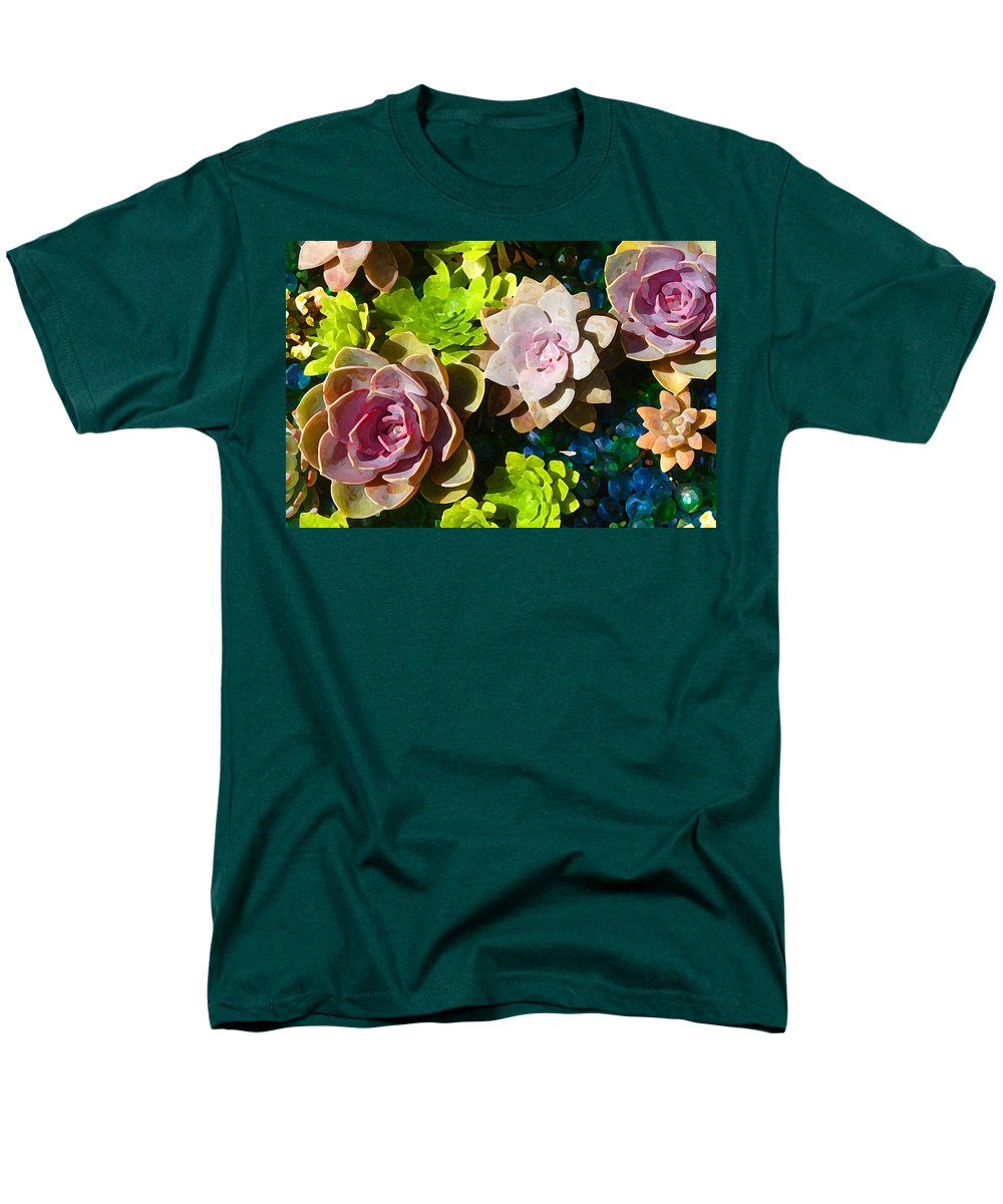 Men's T-Shirt (Regular Fit) featuring the painting Succulent Pond 4 by Amy Vangsgard