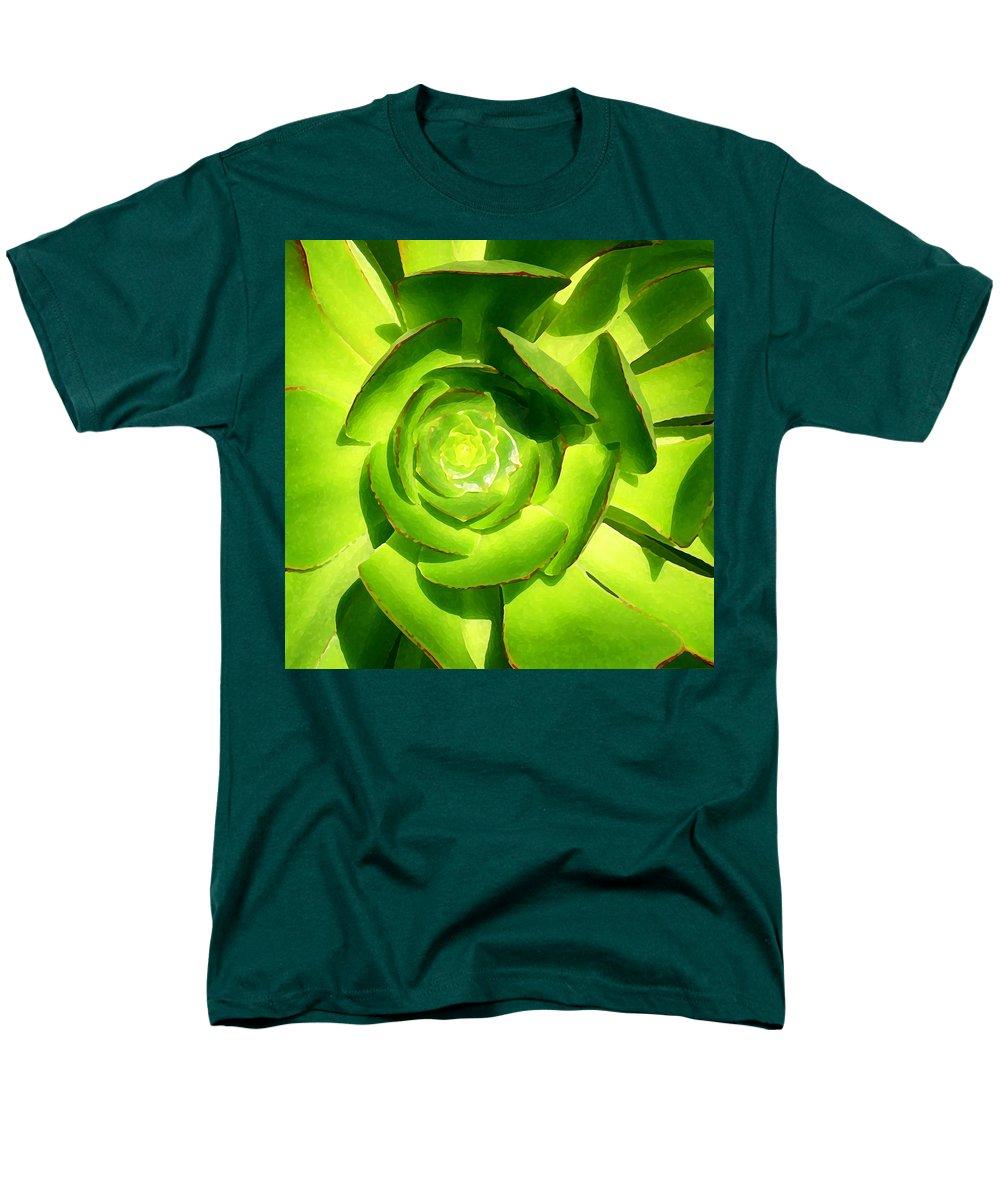 Succulent Men's T-Shirt (Regular Fit) featuring the photograph Succulent Square Close Up 5 by Amy Vangsgard