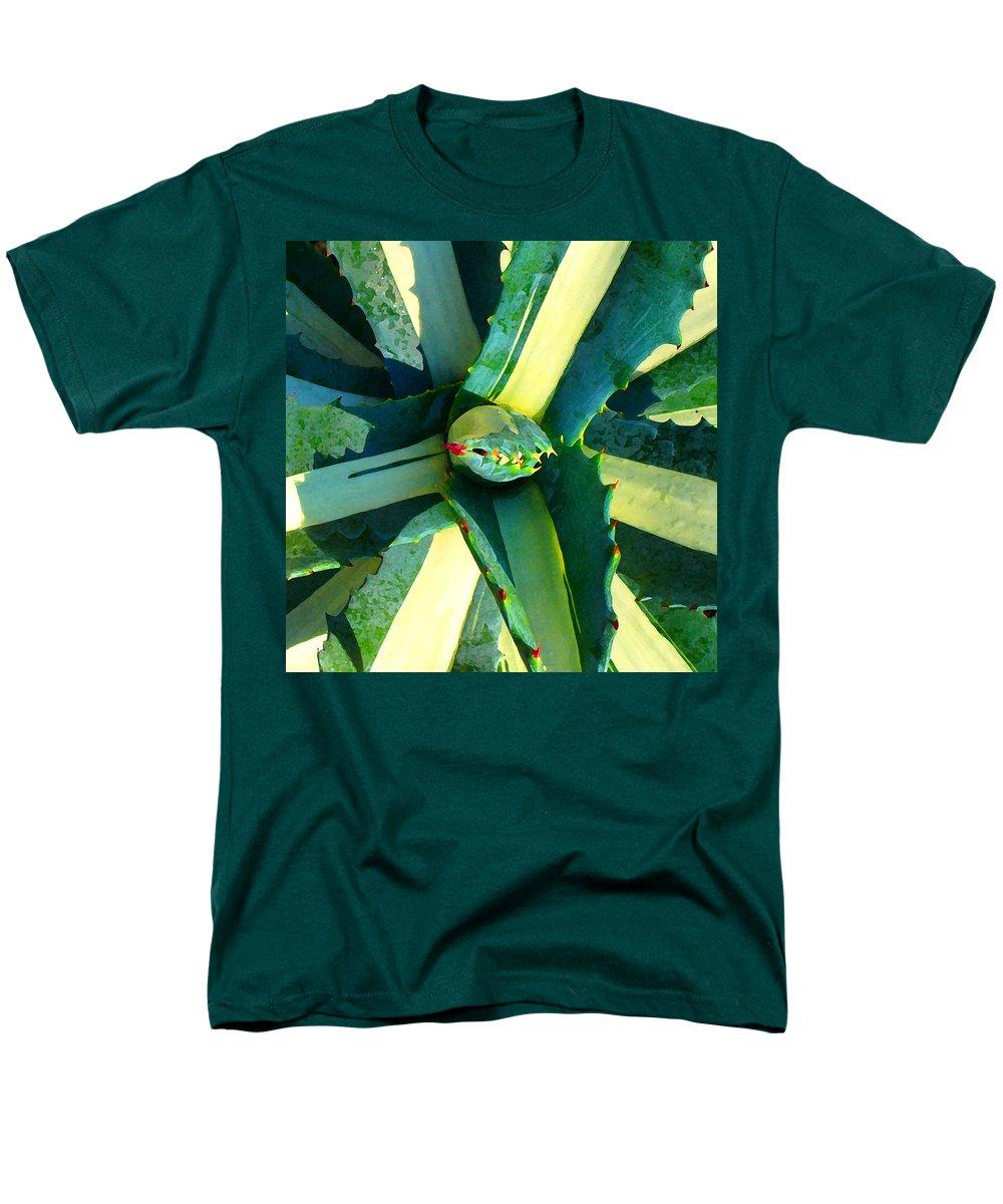 Succulent Men's T-Shirt (Regular Fit) featuring the photograph Succulent Square Close-Up 6 by Amy Vangsgard