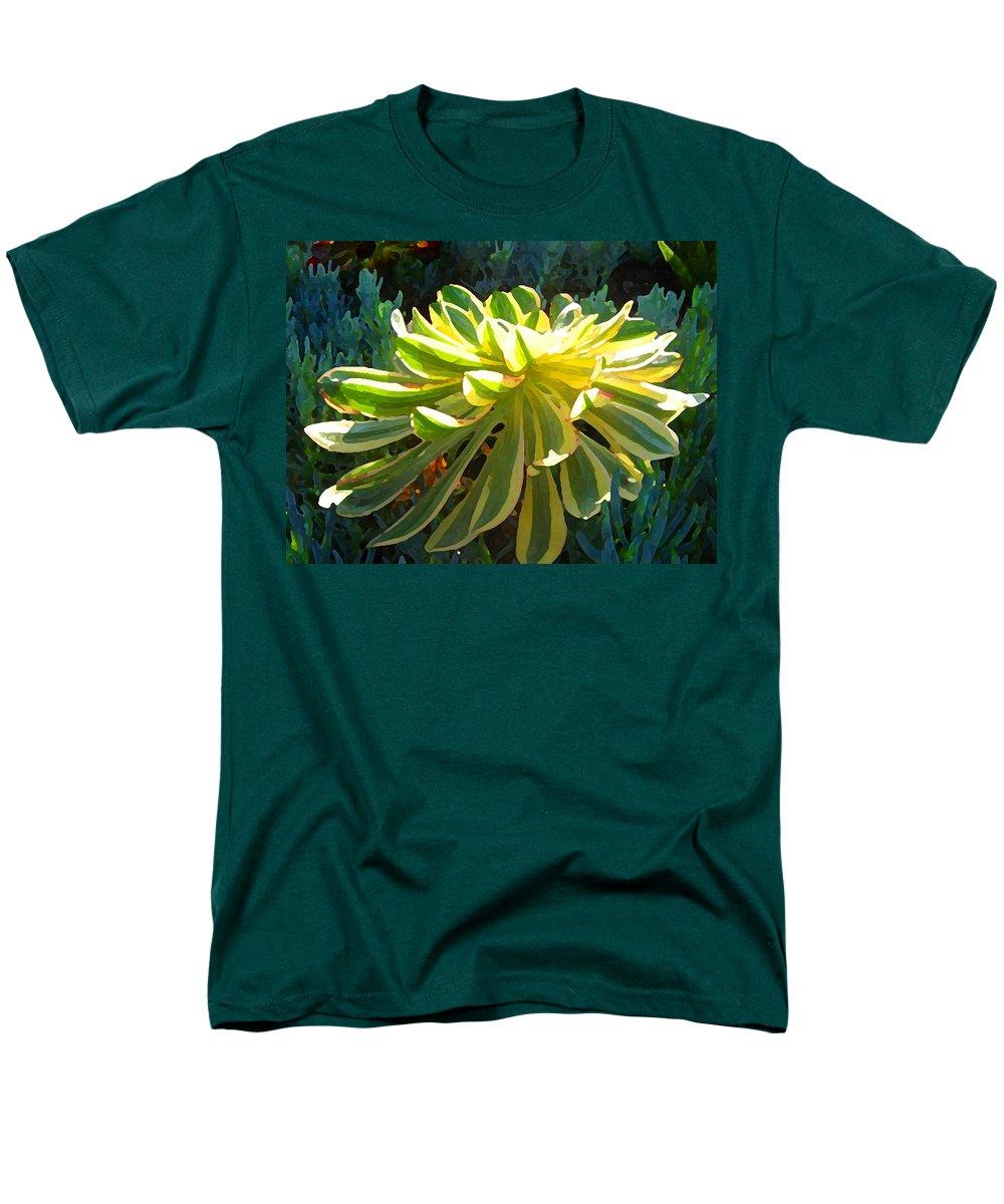 Succulent Men's T-Shirt (Regular Fit) featuring the painting Sunburst Succulent on Blue by Amy Vangsgard