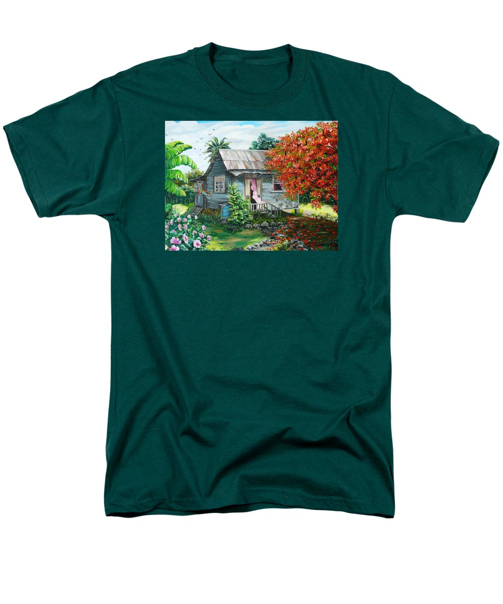 Caribbean Painting Original Painting Trinidad And Tobago ..house Painting Flamboyant Tree Painting Red Blossoms Painting Floral Painting Tree Painting Tropical Painting Men's T-Shirt (Regular Fit) featuring the painting Sweet Tobago Life. 2 by Karin Dawn Kelshall- Best