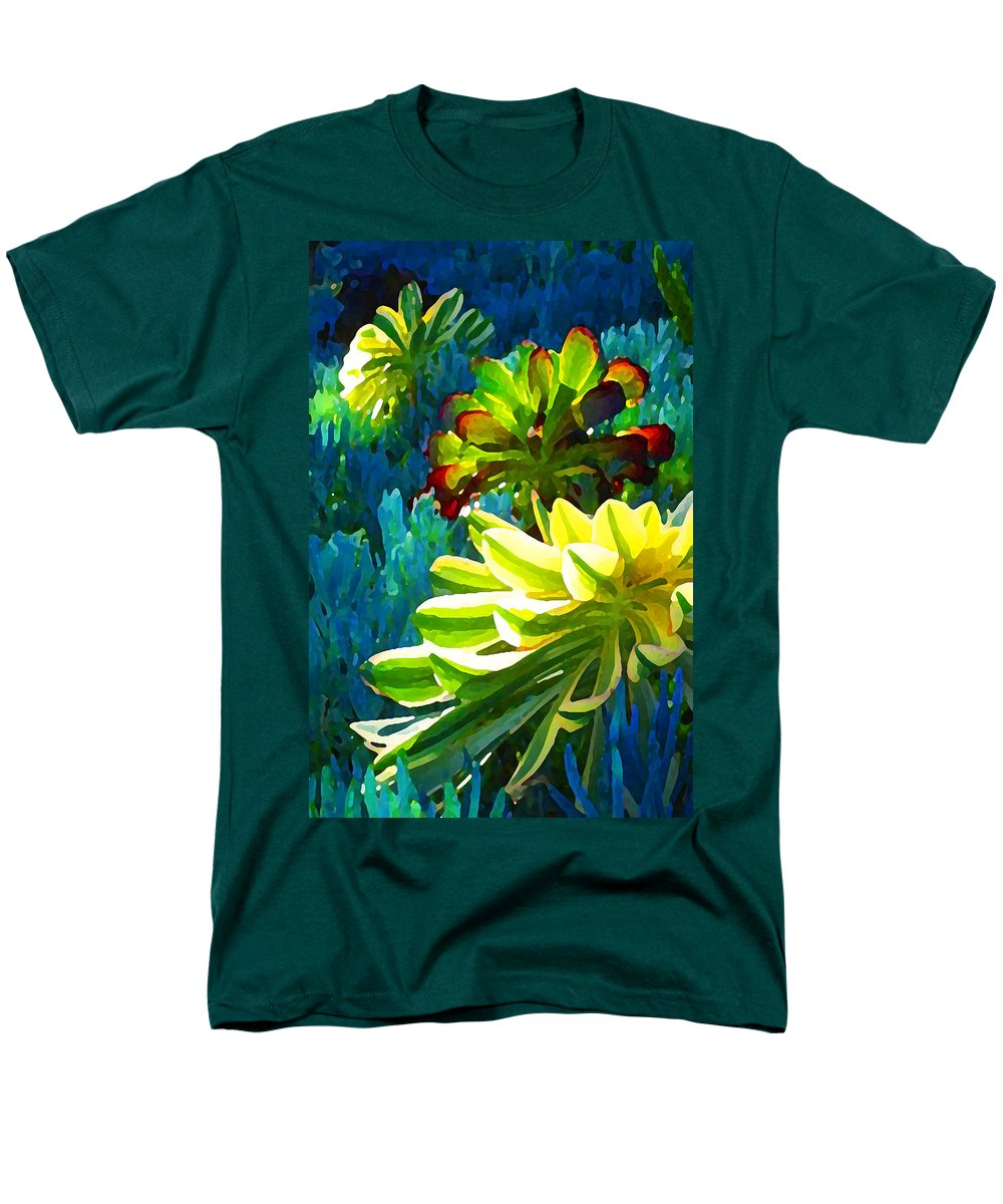 Succulent Men's T-Shirt (Regular Fit) featuring the painting Three Succulents on Blue by Amy Vangsgard