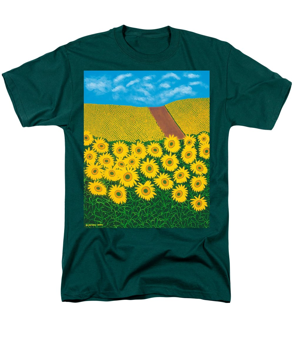 Sunflowers Men's T-Shirt (Regular Fit) featuring the painting Tuscan Sunflowers by Synthia SAINT JAMES