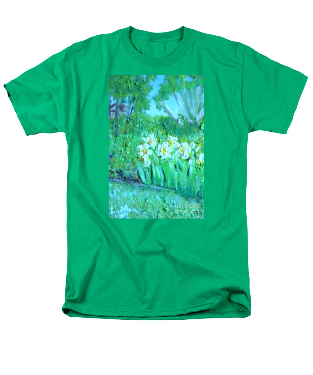 Daffodils Men's T-Shirt (Regular Fit) featuring the painting Dependable Daffodils by Laurie Morgan