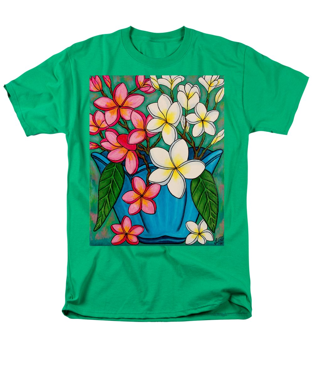 Frangipani Men's T-Shirt (Regular Fit) featuring the painting Frangipani Sawadee by Lisa Lorenz