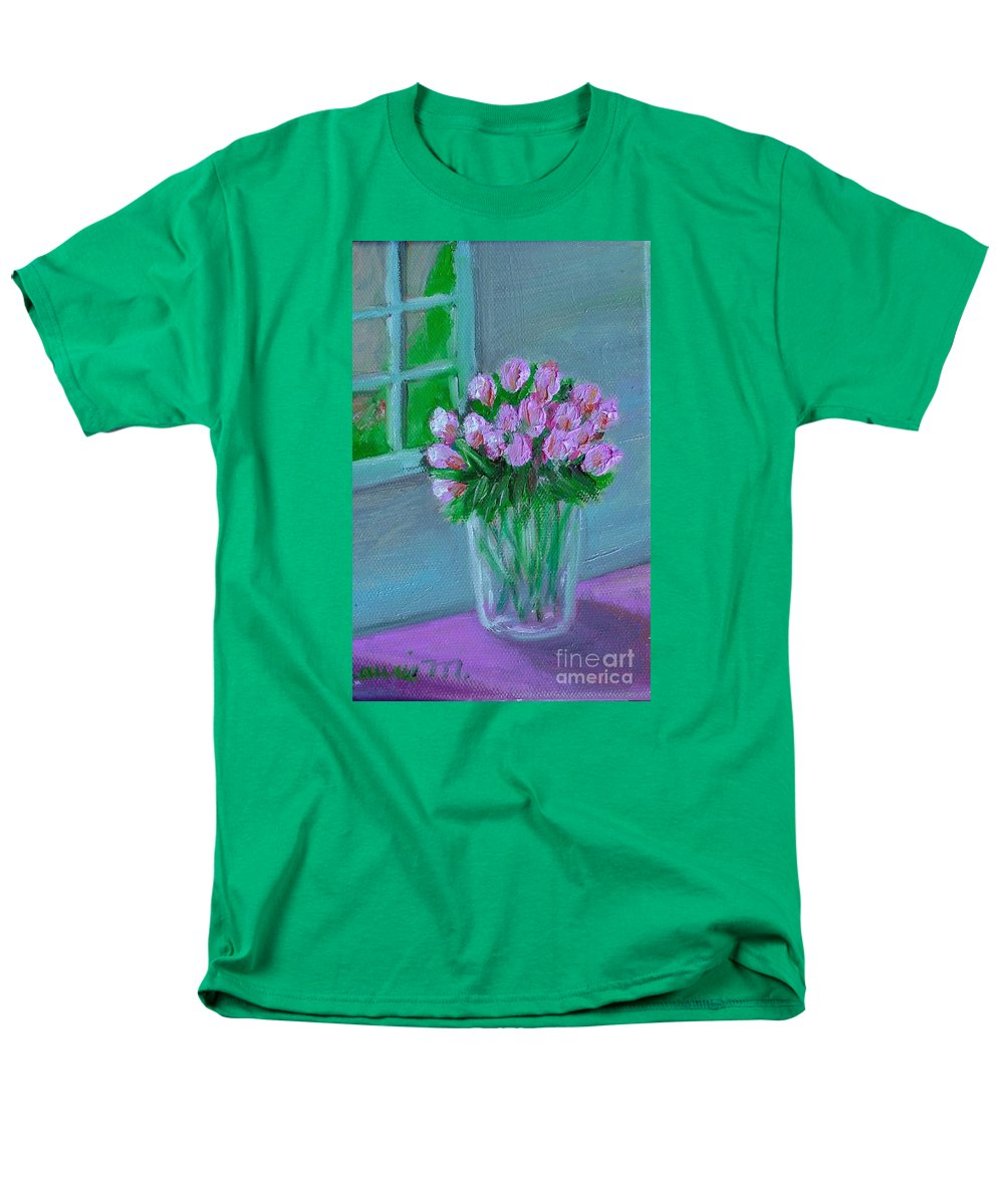Rose Men's T-Shirt (Regular Fit) featuring the painting Leslie's Roses by Laurie Morgan