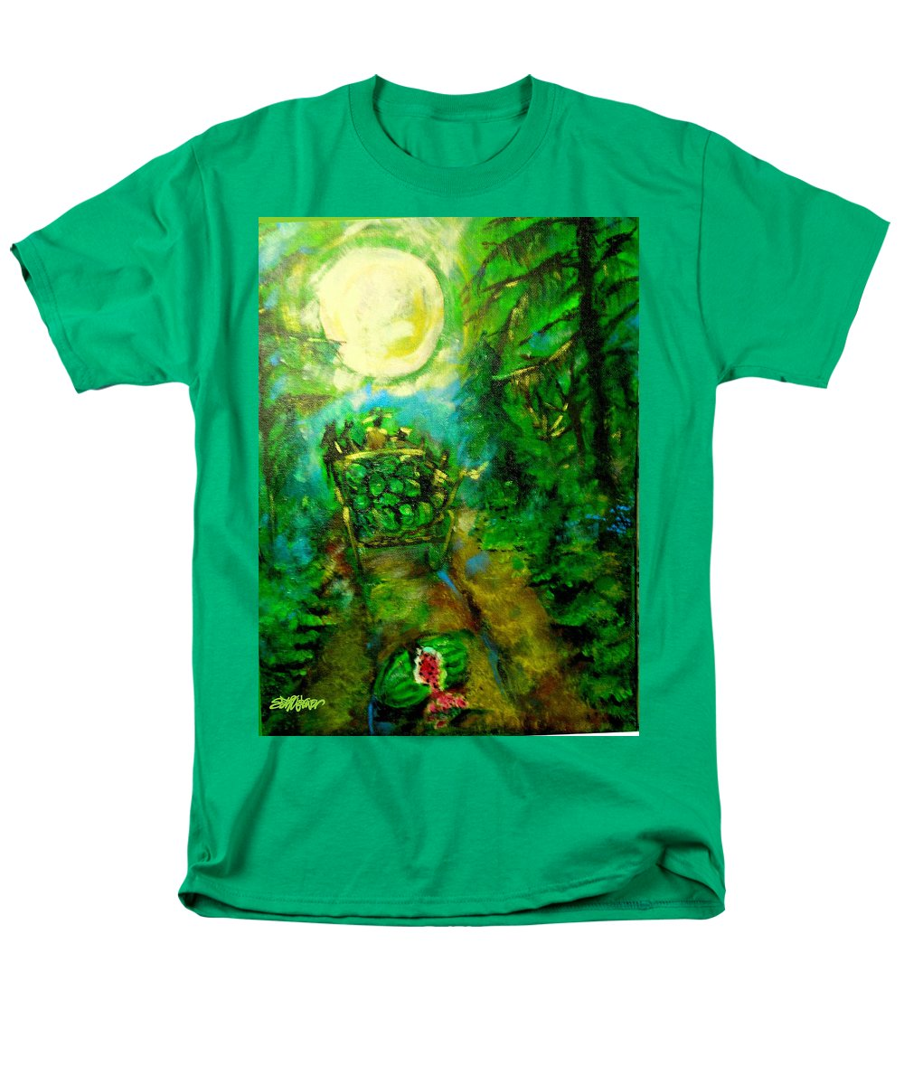 Watermelon Wagon Moon Men's T-Shirt (Regular Fit) featuring the painting Watermelon Wagon Moon by Seth Weaver