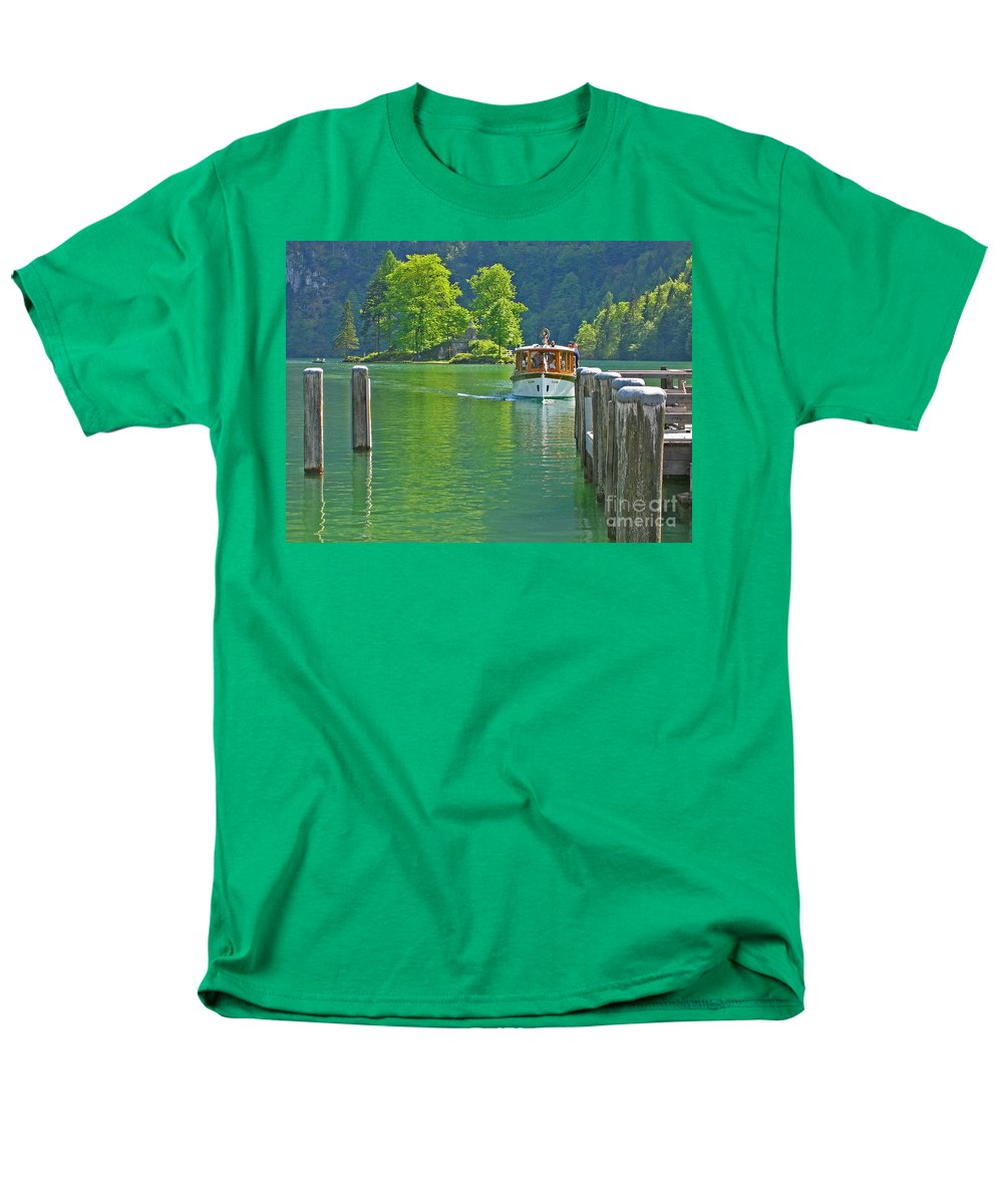 Boat Men's T-Shirt (Regular Fit) featuring the photograph Boating Through Beauty by Ann Horn